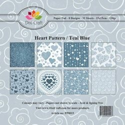 26176 Dixi Paper Pack 15x15 cm Blue Heart Pattern 8 dessins x 4 vel.