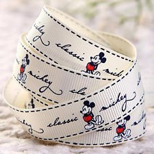 26523 LInt Mickey Mouse Creme 18mm x 1 Meter.