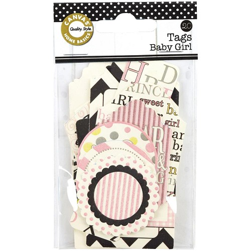 26826 Printed Tags Assorted Baby Girl 20/Pkg.
