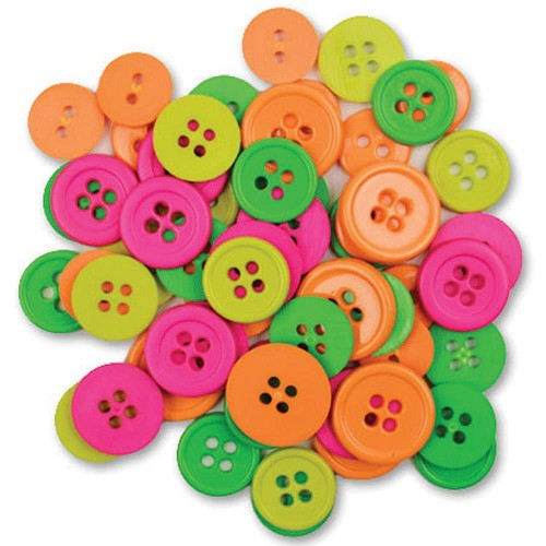 27459 Favorite Findings Buttons Neon Assorted 130/Pkg.