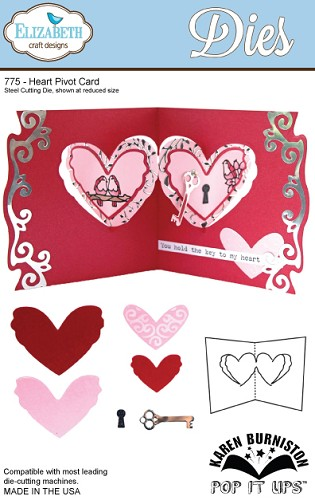 27584 Elizabeth Craft Design Steel Cutting Die Heart Pivot Card.