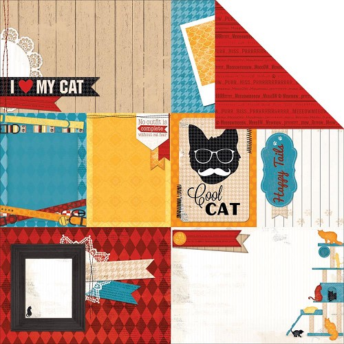 "28138 Bo Bunny Happy Tails Cat Nap Double-Sided Cardstock 12""X12""."
