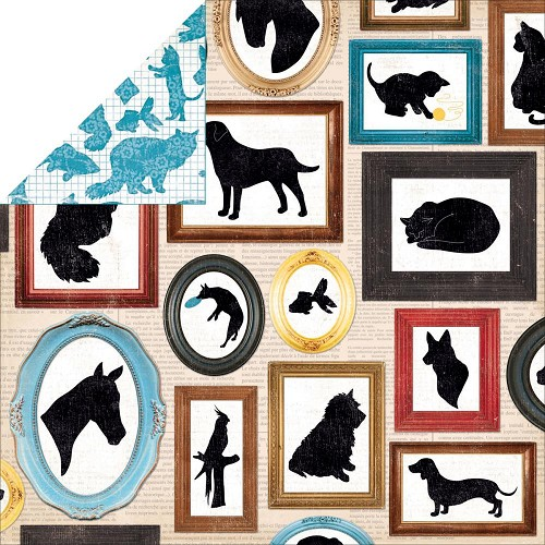 "28139 Bo Bunny Happy Tails Menagerie Double-Sided Cardstock 12""X12""."