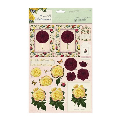 28738 A4 Decoupage Pack - Botanicals - Blousey Flowers.