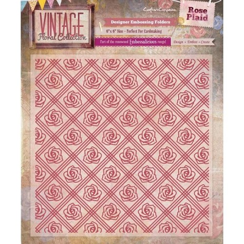 "29097 Vintage Floral 6"" x 6"" Embossalicious Folder - Rose Plaid."