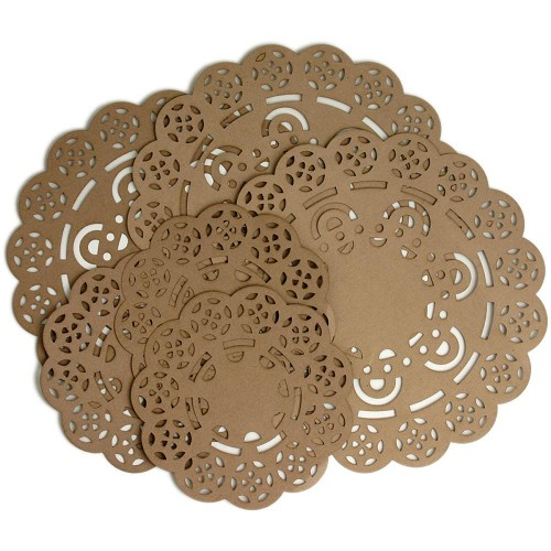 "29793 Darjeeling Paper Doilies 7"" & 4.5"" 6/Pkg Craft Brown."