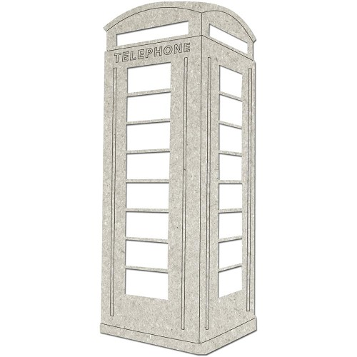 "29794 Die-Cut Gray Chipboard Embellishments Telephone Booth 2/Pkg, Up To 5""X2.4""."