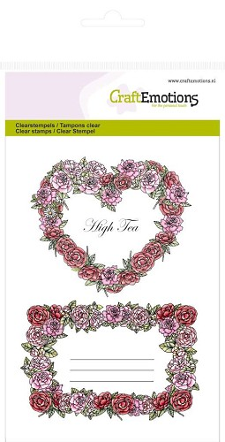 30057 CraftEmotions clearstamps A6 - Rozen labels High Tea Rose.