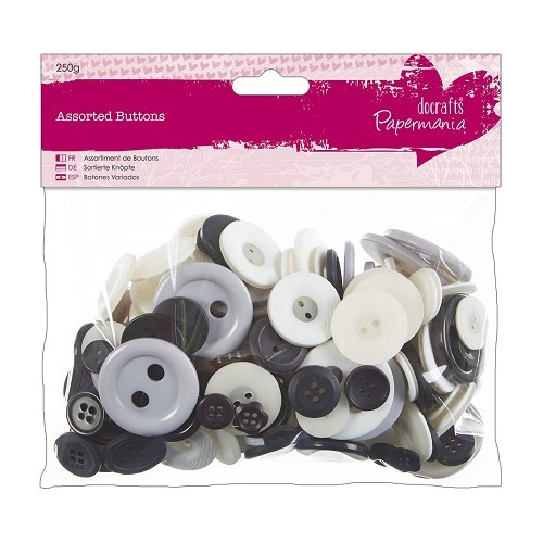 30530 Assorted Buttons (250g) - Monochrome.
