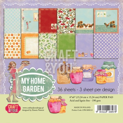 30664 Craft & You My Home Garden - Paper Pad 6x6 36 Vel (3x12 design).