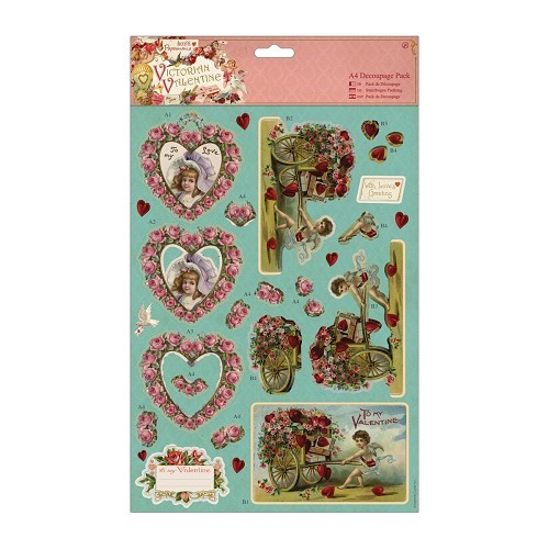 31138 A4 Decoupage Pack - Victorian Valentine - Hearts.