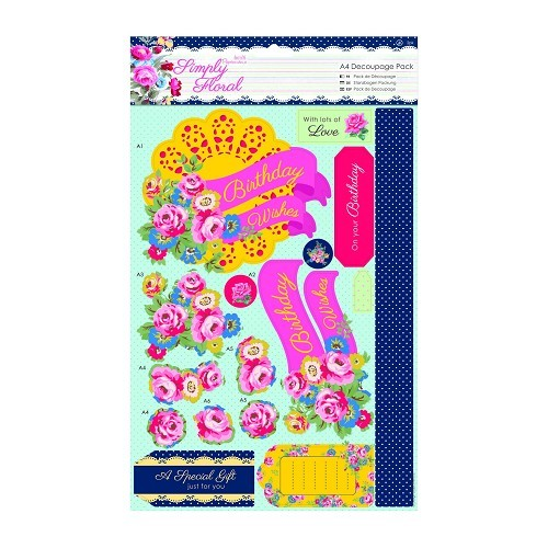 31289 A4 Decoupage Pack - Simply Floral - Bright Blooms 2x2 Vel.