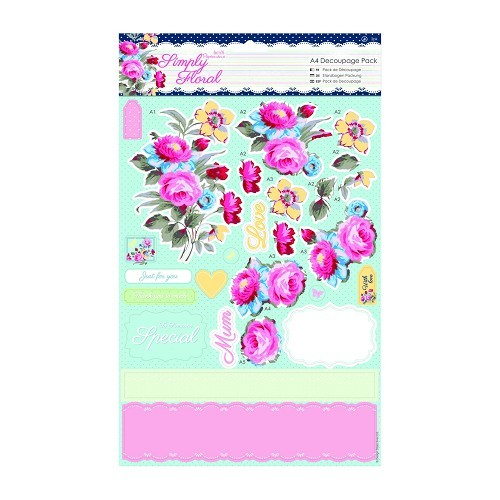 31290 A4 Decoupage Pack - Simply Floral - Simply Floral - Pastel Blooms 2x2 Vel.