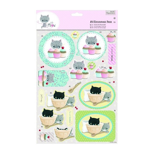 31399 A4 Decoupage Pack - Little Meow - Cakes.