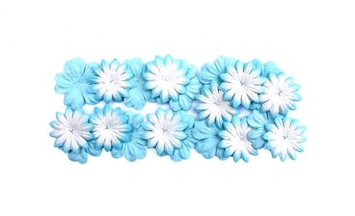31574 Set the flowers of silk paper, 2 kinds of 20 pcs Blue.