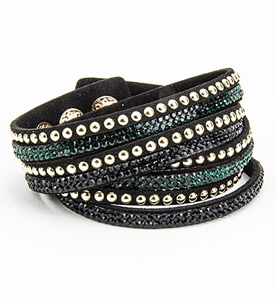 31618  Faux Suede Bracelet With Jewelry - Bracelet Black/d.green 1.8x40 cm.