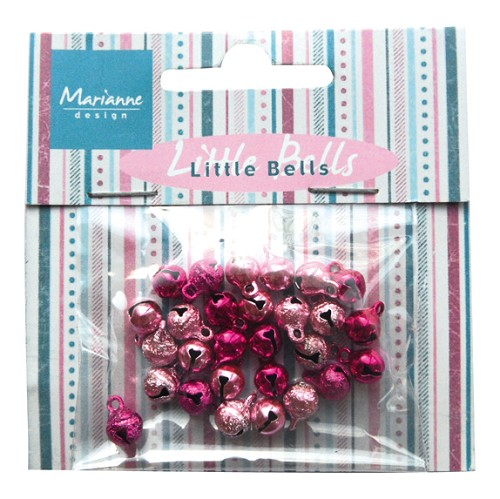 32072 Marianne Design Decoration Mini bells - Light Pink & Dark Pink (JU0939).