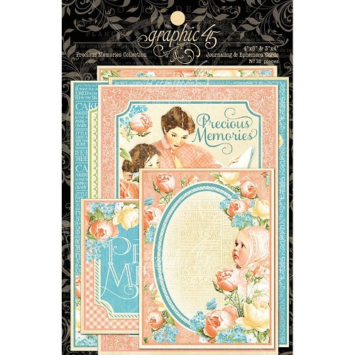"32261 Graphic 45 Precious Memories Collection Ephemera Cards 4""X6"" 32/Pkg."