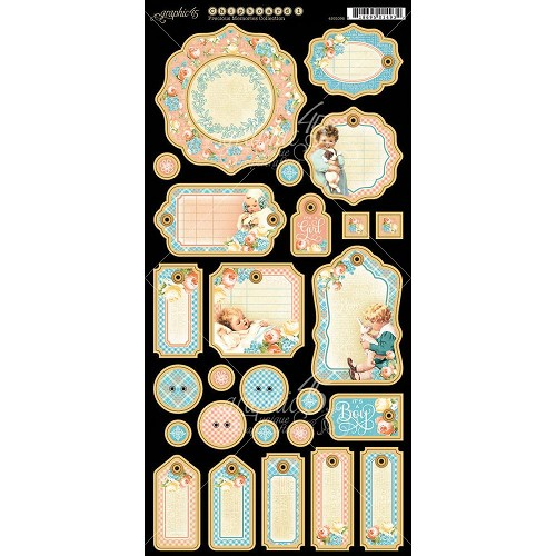 "32262 Graphic 45 Precious Memories Collection Chipboard Die-Cuts 6""X12"" Sheet."