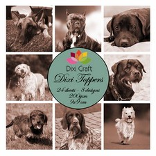 32383 Mini Toppers 9x9 cm Dogs Sepia 200 grs 24 vel 8 Designs.
