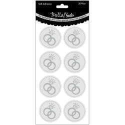 32506 Wedding Foiled Seals 20/Pkg Rings Silver.