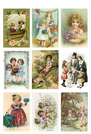 32666 (M2) KP0034 Vintage Toppers A4 Summer Children.