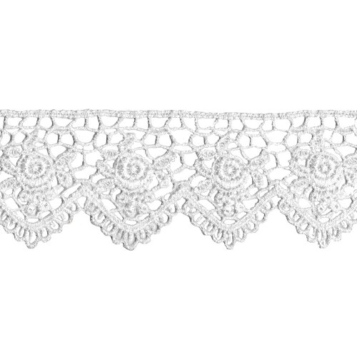 33103 Scalloped Rose Venice Lace White 4,5cm x 1 Meter.