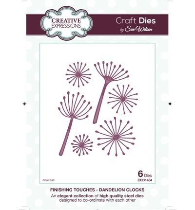 33361 Creative Expressions The Finishing Touches Coll. - Dandelion Clocks 6pcs / 3x6.5cm.