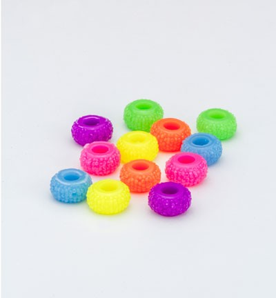 33847 Resin Beads Neon Colors  12pcs / 12mm (inner Ø 4,5mm) (12352-5220).