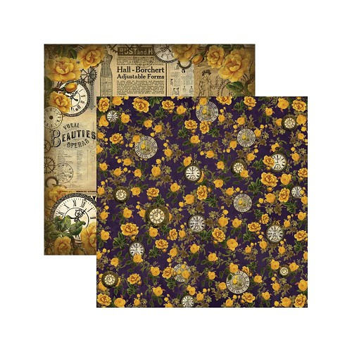 "33999 Prima Marketing Timekeeper Double-Sided Cardstock 12""X12"" Antique Emporium."