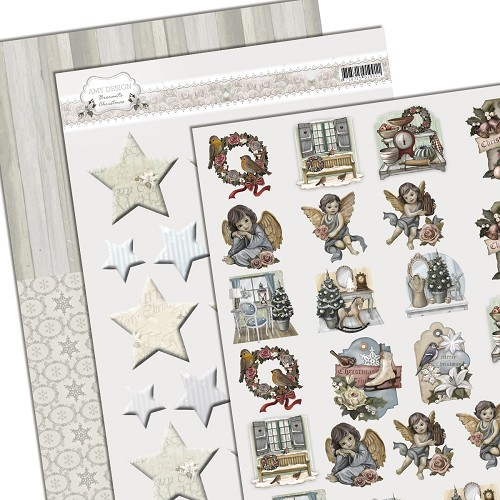 34556 3D Knipvel - Amy Design - Brocante Christmas - Minis & Labels (ADSET10001).