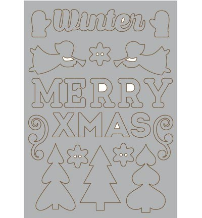 34586 Grey Chipboard - Merry Xmas A5.
