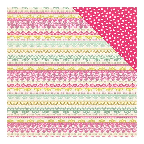 34802 Authentique Infused Double-Sided Paper 30,5x30,5 cm Deluxe Lace Border Stripe/Sprinkle Dots.