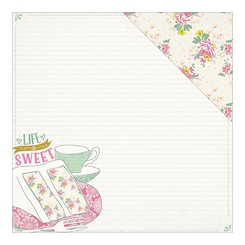 34804 Authentique Infused Double-Sided Paper 30,5x30,5 cm Sweetened Cake & Tea Cup/Floral With Dot.
