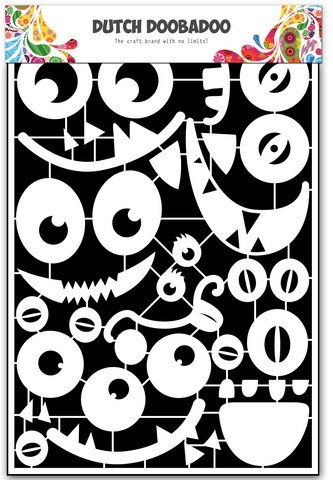 35841 Dutch Doobadoo Dutch Paper Art Monsters Faces A5.