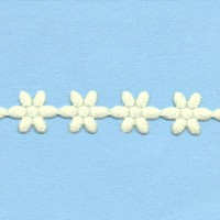 35981 Flower Ribbon 12mm x 1 Meter Ivoor.