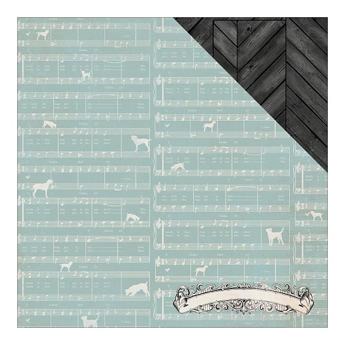 "36050 Authentique Devoted Double-Sided Paper 12""X12"" Harmonize Puppy Sheet Music/Chevron Wood."