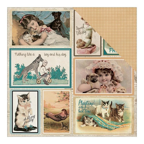 "36054 Authentique Devoted Double-Sided Paper 12""X12"" Moments Vintage Postcards/Mini Dots."