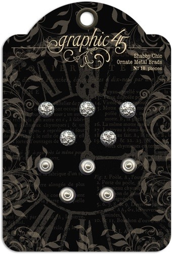 36081 Graphic 45 Shabby Chic Ornate Metal Brads (10 pieces per pack).