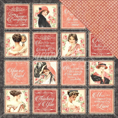 36150 Graphic 45 Mon Amour Double-Sided Paper 30,5x30,5 cm Forever Mine.