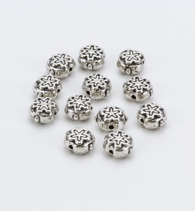 36431 Hobby Crafting Fun Spacer beads, Platinum 12 Stuks (10303-9513).