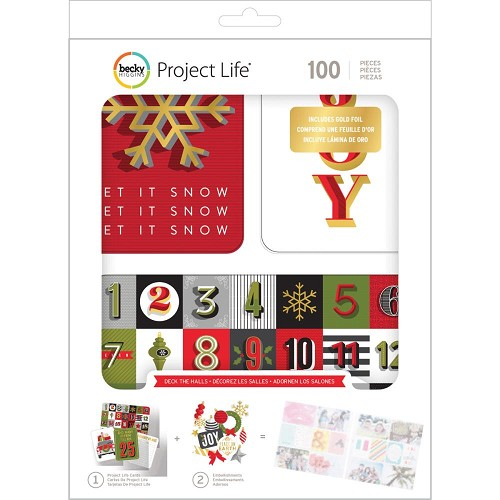 36919 Project Life Value Kit 100/Pkg Deck The Halls W/Gold Foil.