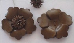 36937 Real Leather Flower (1) Brown (12286-8631).