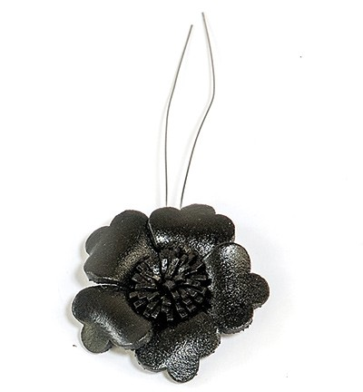 36938 Real Leather Flower (1) Black 32mm (12286-8632).