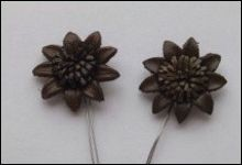 36940 Real Leather Flower (2) Brown 25mm (12288-8837).
