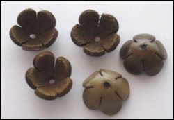 36942 Real Leather Flower (5) Brown 18 mm (12286-8675).