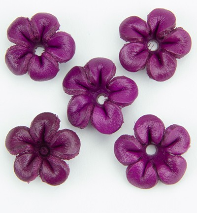 36945 Real Leather Flower (5) Purple 25 mm (12287-8756).