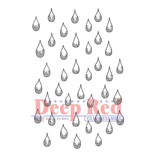 37051 Deep Red Cling Stamp Rain Drops 6x9 cm.