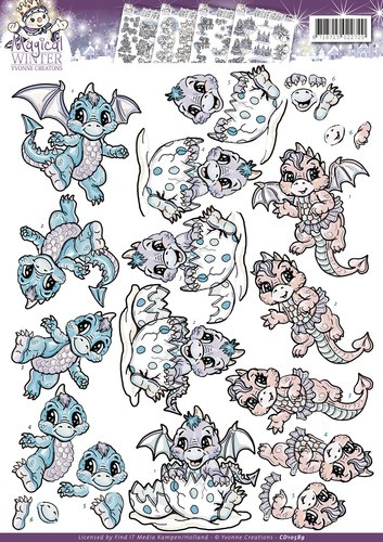 37274-527 3D Knipvel - Yvonne Creations - Magical winter - Dragons (CD10589).