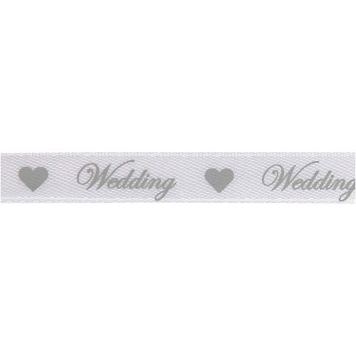 37398 Wit Satijnlint 10mm x 8 Meter Wedding Zilver.